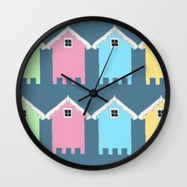 British Seaside Beach Huts Wall Clock