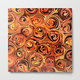 Honey Orange Fire Swirl Abstract Metal Print