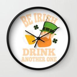 Patrick's Day Drinking Leprechaun Shamrock Gift Wall Clock