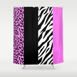 Animal Print, Zebra Stripes, Leopard Spots - Pink Shower Curtain