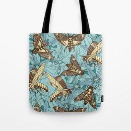 Death's-head hawkmoth teal Tote Bag