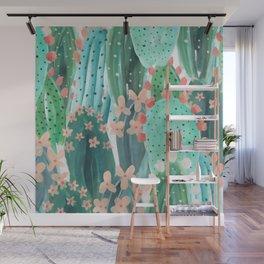 Colorful watercolor cacti Wall Mural