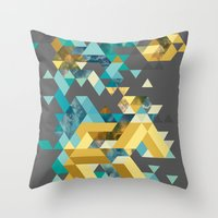 Throw Pillows featuring Triangles by oven