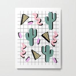 Sweetness - memphis retro grid cactus pastel neon 80s style classic socal beach life surf desert art Metal Print