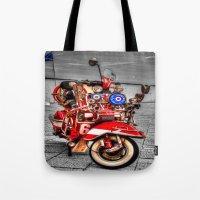 vespa Tote Bags featuring Vespa by Doug McRae