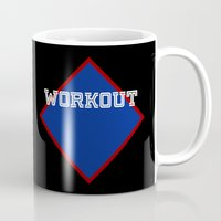 workout Mugs featuring WORKOUT by Gravityx9