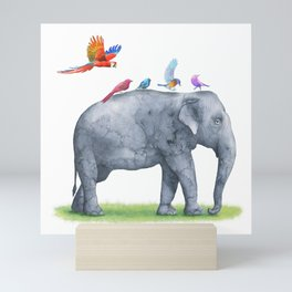 All Aboard The Exotic Elephant Taxi Service Mini Art Print