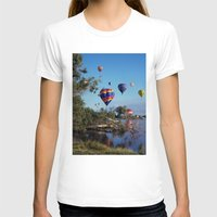 aviation T-shirts featuring Hot air balloons over lake by Bruce Stanfield Photographer