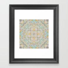 Gypsy Floral in Soft Neutrals, Grey & Yellow on Sage Framed Art Print