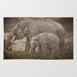 Elephant Mother and Calf Rug
