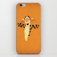 tigger iPhone & iPod Skins featuring Winnie the Pooh Tigger Nursery Art Retro Style Minimalist Poster Print by The Retro Inc