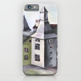 Pop Surrealism Watercolor Artwork with French Provenance Castle in Liege iPhone Case