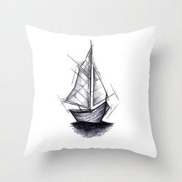 Sailboat Handmade Drawing, Art Sketch, Barca a Vela, Illustration Throw Pillow