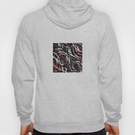 Black Red and White Bold Circle Design Abstract Hoody