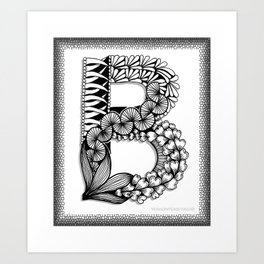 Zentangle B Monogram Alphabet Initial Art Print