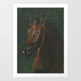 Brown horse portrait on green velvet Art Print