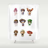 digimon Shower Curtains featuring Chibi Goggles by artwaste
