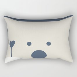 Peek-a-Boo Bear with Heart, Warm Gray and Navy Blue Rectangular Pillow