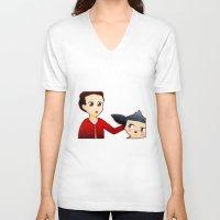 sterek V-neck T-shirts featuring Sterek Chibi by LK17