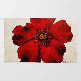 Red Winter Rose Rug