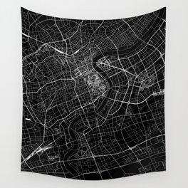 Shanghai Black Map Wall Tapestry