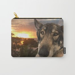 Dog German Shepherd and Sunset Carry-All Pouch