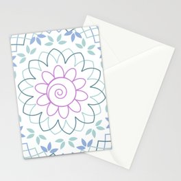 Floral Mandala with leaves in soft pastel colors Stationery Cards