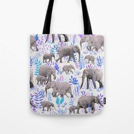 Sweet Elephants in Aqua, Purple, Cream and Grey Tote Bag