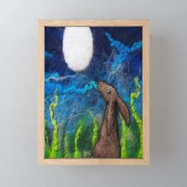 Moon Rise Hare, Moon gazing Hare textile art by The Wonky Fox Framed Mini Art Print