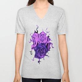 Purple Roses Unisex V-Neck