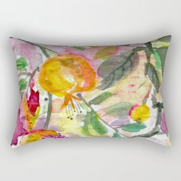 Pomegranate, Fruit and Flowers Rectangular Pillow
