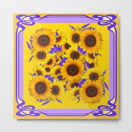 PURPLE ART NOUVEAU YELLOW SUNFLOWERS Metal Print