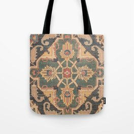 Geometric Leaves VI // 18th Century Distressed Red Blue Green Colorful Ornate Accent Rug Pattern Tote Bag