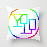 yolo Throw Pillows featuring Yolo  by Office Party
