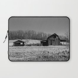 Days Gone By - Old Arkansas Barn in Black and White Laptop Sleeve
