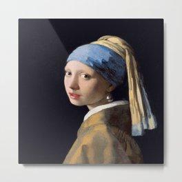 Vermeer, Girl with a Pearl Earring,Meisje met de parel,La joven de la perla Metal Print