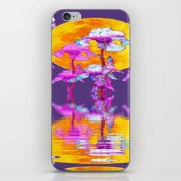PURPLE-WHITE IRIS & MOON WATER GARDEN  REFLECTION iPhone Skin