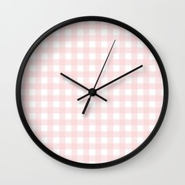 Pastel pink gingham pattern Wall Clock