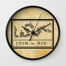 """1776 """"Join, or Die"""" Revolutionary War flag with 13 colonies, snake & no colors by Benjamin Franklin Wall Clock"""