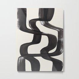 Mid Century Modern Minimalist Abstract Art Brush Strokes Black & White Ink Art Ripple Lines Metal Print