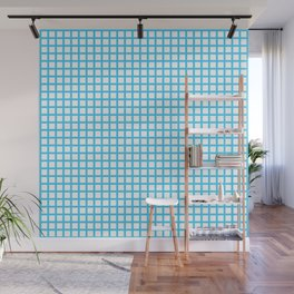 Blue On White Grid Wall Mural