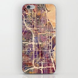 Chicago City Street Map iPhone Skin