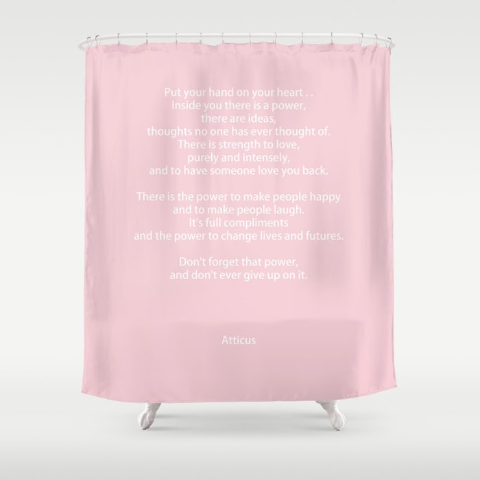 Pastel Pink Inspiration Never Give Up Shower Curtain