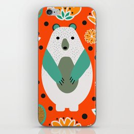 Bear in a floral spring garden iPhone Skin