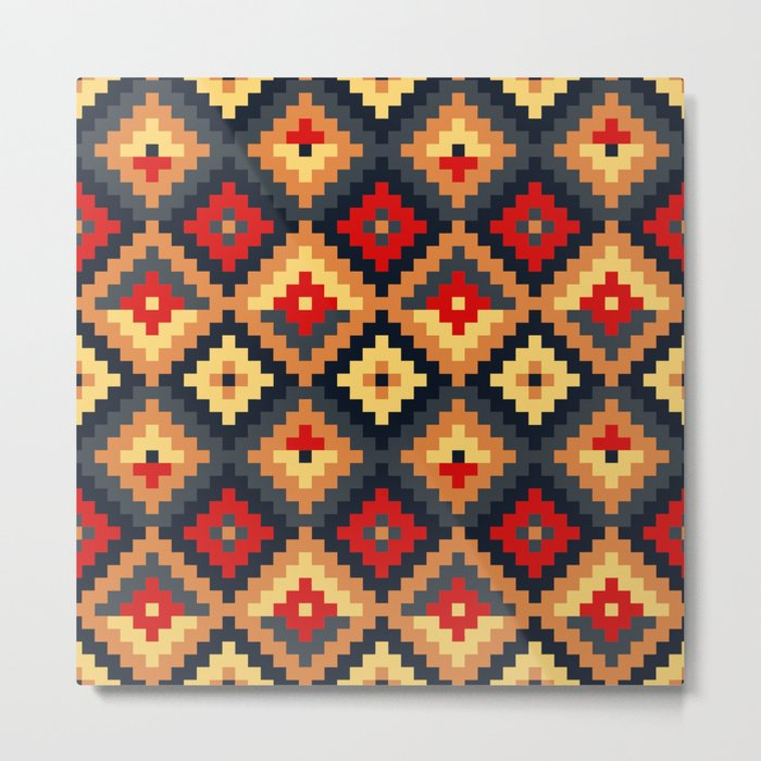 Aztec pattern-red, brown, nude, blue Metal Print