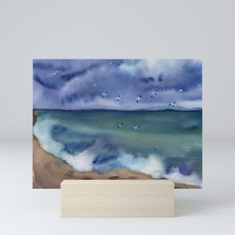 Thunderstorm at sea Mini Art Print