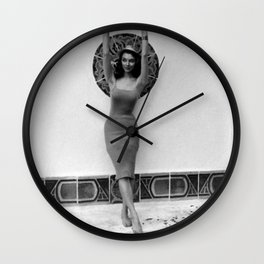 The Original Jessica Rabbit, Hollywood Glamour Girl, Vicki Dougan, sticking her toes in the pool Wall Clock