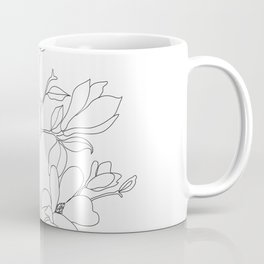 Minimal Line Art Magnolia Flowers Coffee Mug