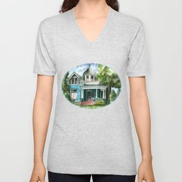 The House with Red Trim Unisex V-Neck