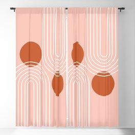 Mid Century Modern Geometric 65 in Terracotta Rose Gold (Rainbow Sun Abstraction) Blackout Curtain